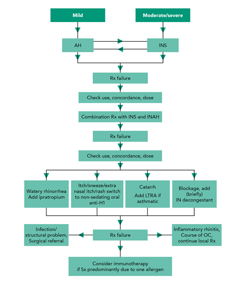 Rhinitis treatment algorithm